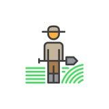 Farmer man with shovel filled outline icon, line vector sign, linear colorful pictogram. Symbol, logo illustration stock illustration