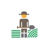 Farmer man with shovel icon vector, filled flat sign, solid colorful pictogram. Symbol, logo illustration stock illustration