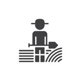 Farmer man with shovel icon vector, filled flat sign, solid pictogram isolated on white. Symbol, logo illustration. Pixel perfect stock illustration