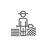Farmer man with shovel line icon, outline vector sign, linear style pictogram isolated on white. Symbol, logo illustration. Editab. Le stroke. Pixel perfect royalty free illustration