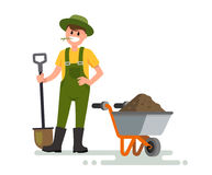 Farmer man with shovel. Vector illustration on white vector illustration