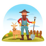 Farmer man with spade and goat on field. Farmer man in boots, gloves and hat with spade or shovel and goat on field with hay and fence. Smiling cartoon farmer Stock Images