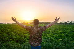 Farmer man standing with arms raised on the green field before the harvest. Stock Photo