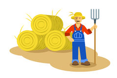 Farmer man standing with pitchfork flat illustration. Farmer man standing with pitchfork near group of hay bales. Vector flat illustration. Farming cartoon Royalty Free Stock Photography