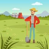 Farmer man standing with shovel, agriculture and farming, rural landscape. Vector Illustration, web banner royalty free illustration
