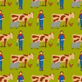 Farm vector illustration nature food harvesting seamless pattern background grain agriculture growth cultivated design. Farmer man vector illustration. Nature Stock Photography