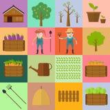 Farmer man and woman farming icon Stock Photos