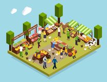Farmer Market Isometric Composition. Demonstrated counters with fresh meat vegetables honey and dairy produce vector illustration vector illustration
