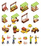 Farmer Market Isometric Icons Set. Of counters boxes casks with fresh meat fruits vegetables dairy and sea produce vector illustration royalty free illustration