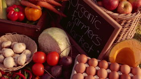 Farmer market with organic product stock footage