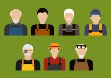 Farmer, mechanic, jeweler and tailor profession Stock Image