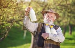Farmer with milk bottles. Senior farmer with milk bottles outside in green nature Stock Photo