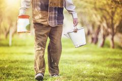 Farmer with milk bottles Royalty Free Stock Photo
