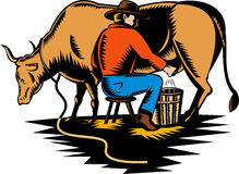 Farmer milking cow. Illustration of a Farmer milking cow woodcut style Stock Photography