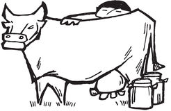 Farmer milking cow. A farmer milking a cow. this is how we get fresh milk stock illustration