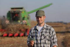 Farmer, money and harvest, agricultural concept Royalty Free Stock Images