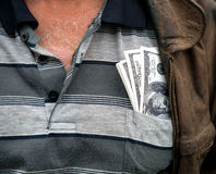 The farmer with money in his pocket Stock Image