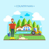 Farmer Near Farm, Field Farmland Countryside Landscape Flat Vector Royalty Free Stock Images