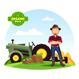 Farmer near vegetables on farm and tractor. Farmer man in hat with beard near boxes with vegetable harvest like eggplant and tomato, beets. Man near tractor or Stock Photography