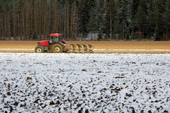 Free Farmer On Field In Early Winter Royalty Free Stock Images - 27555819