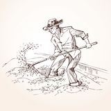 Farmer with a shovel raises grain. Farmer performs the drying of coffee beans. A worker with a shovel raises grain. Vintage illustration royalty free illustration