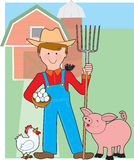 Farmer and Pig Royalty Free Stock Image