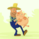 Farmer and pig. Cheerful farmer hugs pig and he is glad that she is well gaining weight Stock Photos