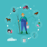 Farmer with pitchfork and bucket, farming infographic elements, vector illustration. Farmer with pitchfork and bucket in the center of farming infographic Stock Image