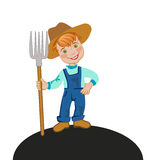 A farmer with a pitchfork. Cheerful boy farmer with a pitchfork. Vector illustration Royalty Free Stock Image