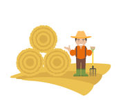 Farmer with Pitchfork and Haystack Royalty Free Stock Photography
