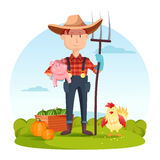 Farmer with pitchfork and pork, vegetables, hen. Farmer with pitchfork and pork, vegetables and hen. Field with rural farmer near watermelon and pumpkin, village Royalty Free Stock Image