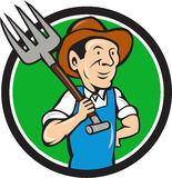 Farmer Pitchfork On Shoulder Circle Cartoon Royalty Free Stock Photos