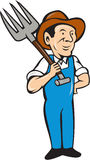 Farmer Pitchfork Shoulder Standing Cartoon Royalty Free Stock Photo