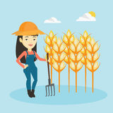 Farmer with pitchfork vector illustration. Royalty Free Stock Image