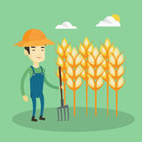 Farmer with pitchfork vector illustration. Royalty Free Stock Images