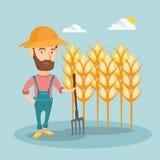 Farmer with pitchfork vector illustration. Stock Photo