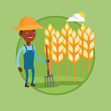 Farmer with pitchfork vector illustration. Royalty Free Stock Photography