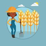 Farmer with pitchfork vector illustration. Stock Images