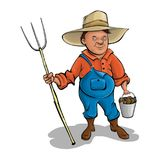 Farmer with pitchforks. A cartoon character. Vector. Farmer with a pitchfork and bucket of potatoes. Vector illustration Stock Images