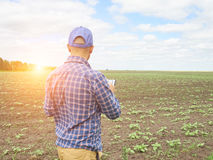 Farmer in a plaid shirt controlled his field. Stock Images
