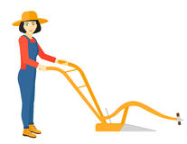 Farmer with plough. Royalty Free Stock Image