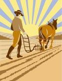 Farmer plowing field stock illustration