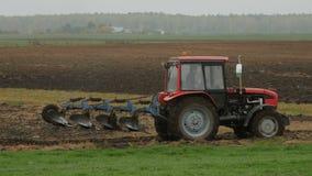 Farmer plowing the field. stock video footage