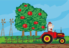 Farmer plowing field. Vector Illustration Royalty Free Stock Photography