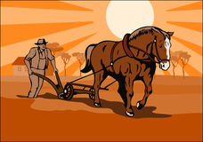 Farmer plowing the fields. Vector art on farming and agriculture Royalty Free Stock Images