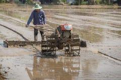 Farmer plowman using tiller tractor Stock Image