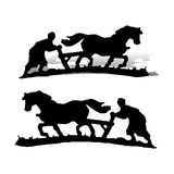 Farmer plows the land, on a horse, silhouette on a white background, royalty free illustration