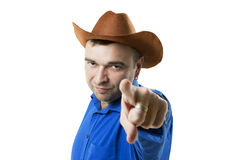 Farmer points a finger at the camera Stock Images