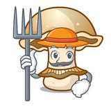 Farmer portobello mushroom character cartoon Royalty Free Stock Image