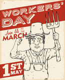 Farmer Poster for Workers' Day Event, Vector Illustration Stock Images